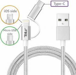 Cablu De Date Tellur 3 in 1 USB La MicroUSB Si Lightning + Adaptor Type C 1m Metalic Argintiu