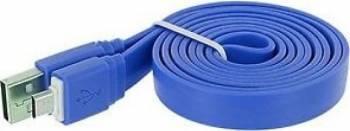 Cablu de Date Tellur MicroUSB Plat 1m Albastru