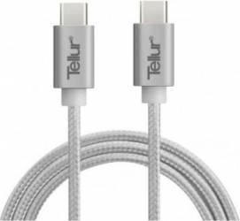 Cablu De Date Tellur USB Type C la USB Type C 1m Metalic Argintiu Cabluri telefoane mobile