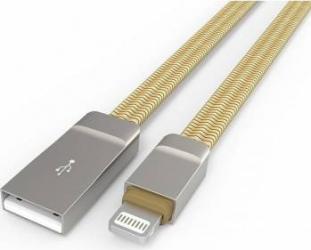 Cablu de Incarcare LDNIO Zinc Alloy Conector Lightning - iPhone Auriu Cabluri telefoane mobile