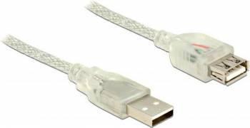 Cablu Delock Extensie USB 2.0 A male - USB 2.0 A female 3m Transparent Cabluri Periferice