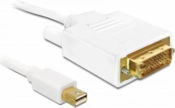Cablu Delock miniDisplayport T - DVI 24 pini T 2m Alb Cabluri Video