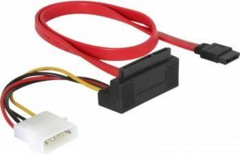 Cablu Delock SATA 22 pini la 7 pini cu Alimentare in Unghi 0.5m Cabluri Componente