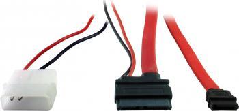 Cablu Inter-Tech Slim SATA 7+6 Pin Rosu