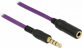 Cablu prelungitor jack stereo 3.5mm Delock T-M 4 pini 1m Mov Cabluri Audio