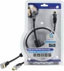 Cablu profesional HDMI 1.4 19pin Tata - HDMI unghiular 19pin Tata 0.75M,HQ Cabluri Video