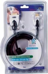 pret preturi Cablu profesional HDMI 19pin Tata - DVI Tata 5.0M HQ Resigilat