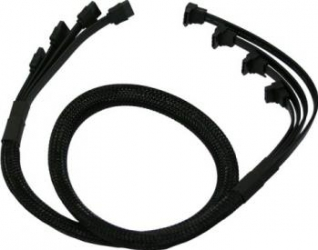 Cablu SATA3 Nanoxia 4-way 85cm Negru