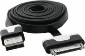 Cablu USB Flat compatibil cu iPhone 4 Negru Cabluri telefoane mobile
