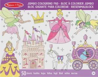 Caiet jumbo cu desene pentru colorat Printese si zane Melissa and Doug Rechizite