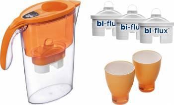 Cana filtranta Laica Orange+3 filtre+2 pahare colorate J947O Cani filtrante si Accesorii
