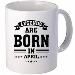 Cana personalizata ceramica 300 ml Legends are born in April Cadouri