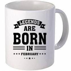 Cana personalizata ceramica 300 ml Legends are born in February Cadouri