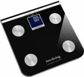 Cantar cu analizator corporal Innoliving INN-117 150 kg 4 functii 9 utilizatori Negru Cantare Personale