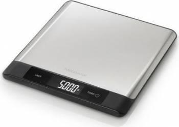 Cantar digital de bucatarie Medisana KS230 40465 otel inoxidabil oprire automata display LED 5 kg Argintiu-Negru Resigil Cantare de Bucatarie