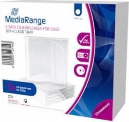 Carcase CD MediaRange 5-Pack CD Jewelcases - Transparente CD-uri si DVD-uri