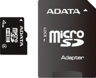 Card de Memorie ADATA microSDHC 4GB Class4+Adaptor