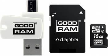Card de Memorie Goodram M404 MicroSDHC 16GB Clasa 4+OTG+Adaptor Carduri Memorie