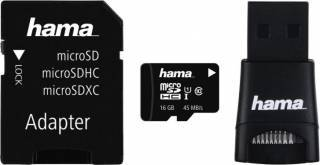 Card de Memorie Hama microSDHC 16 GB class 10 UHS-I + Cititor Card USB si Adaptor
