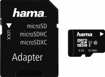 Card de memorie Hama microSDHC 8GB Class 10 UHS-I + Adaptor Carduri Memorie