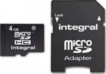 Card de Memorie Integral microSDHC 4GB Clasa 4 + Adaptor SD