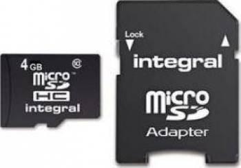 Card de Memorie Integral microSDHC 4GB Clasa 4 + Adaptor SD