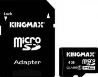 Card de memorie Kingmax microSDHC 4GB clasa4 adaptor