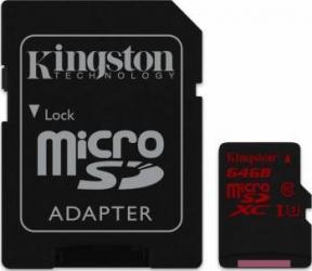 Card de Memorie Kingston microSDXC 64GB UHS-I U3 Clasa 10 cu adaptor Carduri Memorie