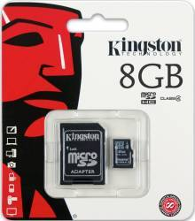 Card de Memorie Kingston microSDHC 8GB Class4 + Adaptor SD