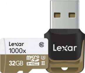 Card de Memorie Lexar MicroSDHC 32GB Clasa 10 UHS-II 150MB/s + Card Reader USB  Carduri Memorie