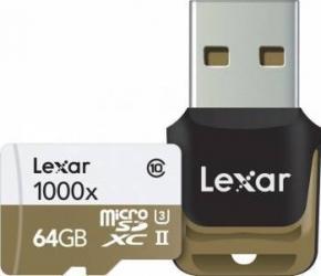 Card de Memorie Lexar MicroSDXC 64GB Clasa 10 UHS-II 150MB/s + Card Reader USB Carduri Memorie