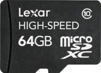 Card de memorie Lexar microSDXC 64GB Class10 cu adaptor SD