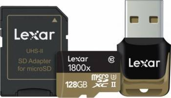 Card de Memorie Lexar Professional microSDXC 1800x 128GB Clasa 10 UHS-II 270MBs + Cititor card USB si Adaptor Carduri Memorie