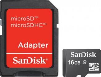Card De Memorie microSDHC SanDisk 16 GB Clasa 4 Adaptor Carduri Memorie
