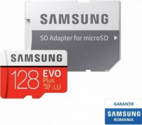Card de Memorie Samsung EVO Plus microSDXC 128GB Clasa 10 100MB/s UHS-I + Adaptor SD Carduri Memorie
