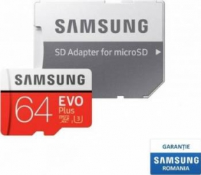 Card de Memorie Samsung EVO Plus microSDXC 64GB Clasa 10 100MB/s UHS-I + Adaptor SD Carduri Memorie