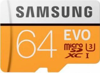 Card de memorie Samsung MicroSDXC EVO 64GB Class 10 100MBsUHS-I U3 + Adaptor Carduri Memorie