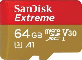 Card de Memorie SanDisk MicroSDXC Extreme 64GB Clasa 10 A1 V30 UHS-I 100 MB/s + Adaptor SD Mobile Carduri Memorie