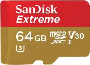 Card de Memorie SanDisk MicroSDXC Extreme 64GB Clasa 10 V30 UHS-I 90MB/s + Adaptor SD Carduri Memorie