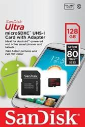 Card de memorie SanDisk Ultra microSDXC 128GB Clasa10 UHS-I 80 MBs + Adaptor SD