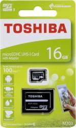 Card de memorie Toshiba Exceria M203 microSDHC 16GB UHS I U1 100MBs + Adaptor SD Carduri Memorie