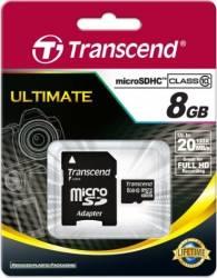 Card de memorie Transcend microSD 8GB Clasa 10 + Adaptor SD