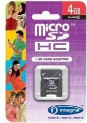 Card Memorie Integral MicroSDHC 4GB Clasa 4 + Adaptor SD inmsdh4g4v2