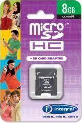Card Memorie Integral microSDHC 8GB Clasa 4 + Adaptor SD inmsdh8g4v2