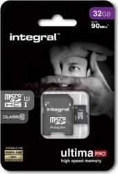 Card Memorie Integral Ultima Pro MicroSDHC/XC 32GB Clasa 10 + Adaptor SD