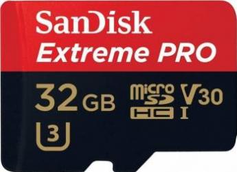 Card memorie microSD SanDisk Extreme Pro 32GB Clasa 10 + Adaptor SD Carduri Memorie