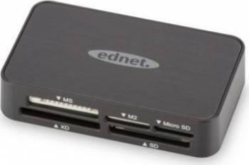 Card Reader Ednet la USB 2.0 All-in-one Negru Cititoare de Carduri