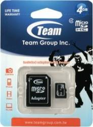 Card de Memorie Team Group microSDHC 4GB Clasa 4 + Adaptor SD