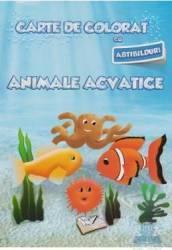 Carte de colorat cu abtibilduri - Animale acvatice