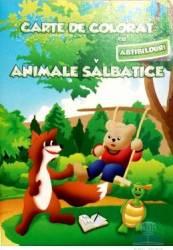Carte de colorat cu abtibilduri - Animale salbatice